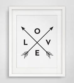 Love Arrow Print, Print Love, Black and White Wall Art - Instant Download - Modern Minimalist Tribal Home Decor, Wall Art - Multiple Sizes