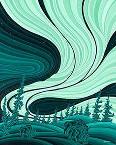 Robbie Craig - Bison Under the Aurora (Print)