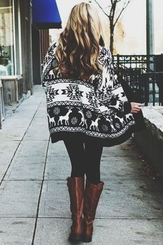 nordic sweater +knee-high boots
