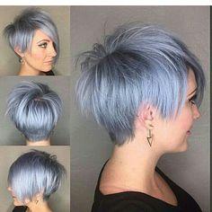 Silver blue pixie on @emilyandersonstyling