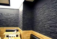 Üç Boyutlu Siyah Taş Duvar Görünümlü Fiberglas Panel M1206