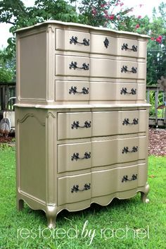 Gorgeous chest of drawers painted with Modern Masters Warm Silver Metallic Paint   Restored by Rachel