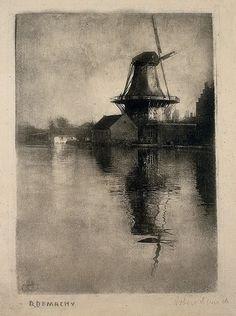 Robert Demachy   -   Windmill 'De Eendracht' near Alphen aan de Rijn, 1907-1912