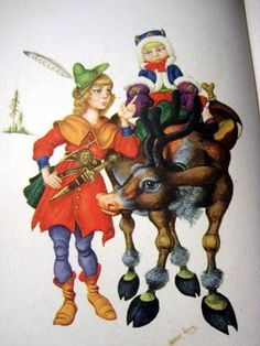 The Robber Girl & Gerda, from The Snow Queen: color plate, Andersen's Fairy Tales (1945), illustrated by Arthur Szyk - full story, free: http://hca.gilead.org.il/snow_que.html