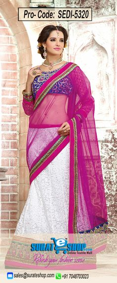 Real Attractiveness Can Come Out Out Of Your Dressing Style And Design With This Off White & Pink Brasso, Net Saree. The Ethnic Lace, Resham, Stones Work With The Dress Adds A Sign Of Splendor Statement For The Look. Paired With A Contrast Blue Dupioni Raw Silk Blouse  Visit: http://surateshop.com/product-details.php?cid=2_26_74&pid=7608