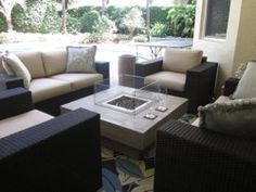 Outdoor seating and firepit for cozy conversation