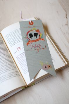 Wedding Bookmark Thank You Card // Library Book Wedding Invitation Set. $3.50, via Etsy.