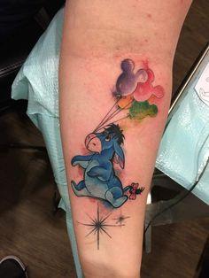 Playful Donkey With Mickey Balloons Tattoo  #Disneytattoo #Tattoos #Tattooideas #Disneytattooideas #Disneytattooideas