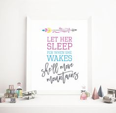 Let her sleep for when she wakes, She'll move mountains, Nursery Decor, Girls Room Decor, Wall Art, 8x10, PRINTABLE, Digital Download by off2market on Etsy