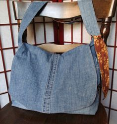 Recycled Denim Messenger Bag - large denim purse - adjustable strap and extra pockets - eco-friendly jeans bag fully lined with fabric