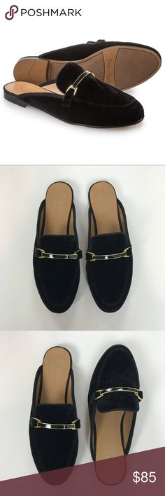 Franco Sarto Velvet Mules Black velvet slide on mules. Metal hardware detailing. Great condition-never worn. Franco Sarto Shoes Mules & Clogs