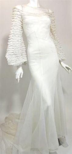 1930s white mesh netting w/voluminous ruffled sleeves/ long train wedding gown