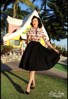 Jenny Gathered Full Skirt in Black Sateen