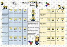 Minions place value dice game