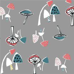 grey with colorful mushroom organic fabric monaluna USA 1