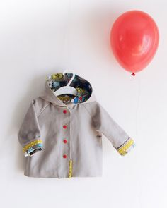 Anorak for babies, color gray, spring jacket. Organic cotton. Unisex wear. Size 12-18 months. Ready to ship.