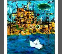 24-Özlem TEKDEMİR (1980)  Tuval üz. akrilik, imzalı. 2010 tarihli.  90 x 100 cm  2.500 TL