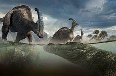 Waterhole promo art by Daren Horley for Walking with Dinosaurs Dinosaur Photo, Dinosaur Images, Dinosaur Pictures, Walking With Dinosaurs, Prehistoric World, Prehistoric Creatures, Dinosaur Fossils, Dinosaur Art, Dinosaur Diorama