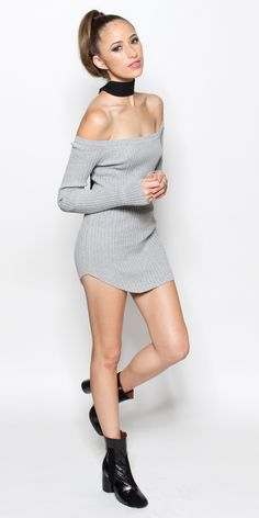 Beautiful long-sleeve off the shoulder gray knit tunic length sweater. Click to Shop! SHOP/WANT/LIST