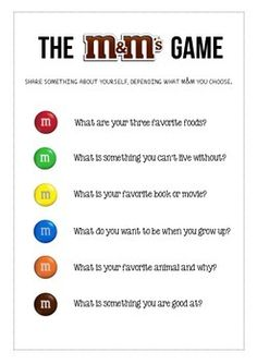 Field Day Games For Kids Discover The M&M Icebreaker Game This is a fun get to know you icebreaker activity for students in the first few days of school. Students pull an M&M out of the bag and answer the question associated with the color. Icebreaker Activities For Students, Primary Activities, Leadership Activities, Icebreaker Games For Work, Physical Activities For Kids, Physical Education, Youth Group Activities, First Day Of School Activities, Small Group Icebreakers