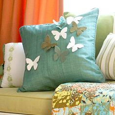 Fabulous green #pillow with butterfly.