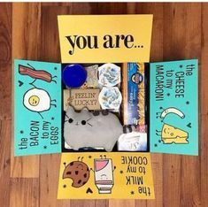 Geschenkpaket ideen - 32 Care Package Ideas Every College Student Will Love-Toda. Geschenkpaket id Diy Gifts For Boyfriend, Birthday Gifts For Boyfriend, Gifts For Boys, Boyfriend Ideas, Boyfriend Care Package, Care Package Ideas For Boyfriend Just Because, College Boyfriend Gifts, Boyfriend Gift Basket, Bff Gifts