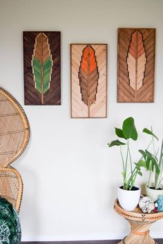 Dimensions: Each: Length: 24 inches Width: 12 inches Depth: inches Together: 36 inches x 12 inches Weight: 10 lbs each The last photo shows our 36 x 30 x and 24 x 12 feather size variations. Individually made to order. Each piece is crafted with love in Reclaimed Wood Wall Art, Wooden Wall Art, Wooden Walls, Wood Feather, Feather Wall Art, Hanging Wall Art, Wall Art Decor, Roots Logo, Studio Green