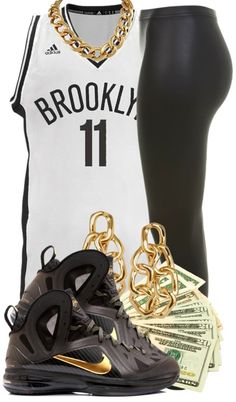Those sneakers are so disrespectful!!!! I love the fit minus the jewelry and the money is corny.