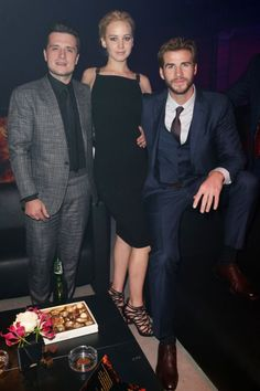 Josh Hutcherson, Jennifer Lawrence and Liam Hemsworth at the Hunger ames: GMockingjay part II after party in Berlin, Germany