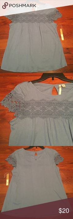 💕Sizes added NWT LC Lauren Conrad top Lace yoke flutter tee. Beautiful lace detail across chest and on sleeves. 60% cotton 40% polyester. LC Lauren Conrad Tops Blouses