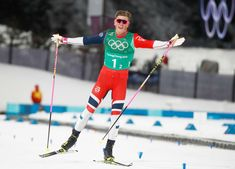 2018 Winter Olympics - Norway's Johannes Hoesflot Klaebo reacts as he crosses the finish line to win gold in the men's cross country team sprint final on Feb. 21 in Pyeongchang South Korea. Youth Olympic Games, Nordic Skiing, Pyeongchang 2018 Winter Olympics, Johnny Weir, Ski Racing, Mens Crosses, Get Skinny, Winter Games, Cross Country Skiing