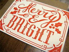 Merry & Bright Letterpress Flat Note