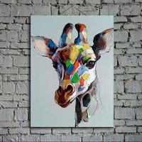 Современные абстрактные картины маслом на холсте поп-арт жираф ручная роспись животные поп-арт украшения домочадца картинке