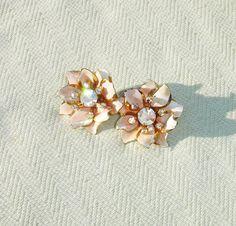 Pink Flower Rhinestone Clip on Earrings  by HarmoneesCreations