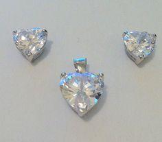 Bridal set cubic zirconia heart earrings 8mm pendant 10mm silver bobin boutique