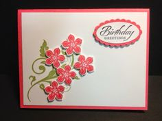 Flowering Flourishes Meets Petite Petals Birthday Card Stampin' Up! Rubber Stamping Handmade Cards