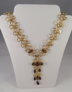 Unique Gold Scroll Design Necklace with Brown by TallulahsVintage, $30.00