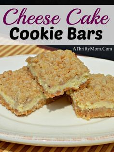 Cheese Cake Cookie Bars | A Thrifty Mom Recipe. Cheesecake on the go! #cheesecake #cookie #dessert #recipe