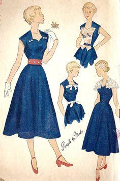 1940's Teenage One Piece Dress Vintage Sewing Pattern #Vintage #Dress #Sewing #Pattern #Teenage #1940s #40s #One #Piece #Blue #White #Retro
