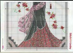 part 2 - point de croix femme rétro en robe de soirée - cross stitch retro woman in evening dress