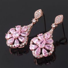Buy Rose Gold Tone Pink Crystal Flower Rhinesonte Absorbing Dangle Earrings - and Find Large Selection of Designer Jewelry at Best Prices Pink Topaz, White Topaz, Pink Sapphire, Crystal Flower, Ear Studs, 18k Rose Gold, Designer Earrings, Dangle Earrings, Dangles