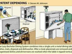 Combination dishwasher/ dining table solves all the problems of conventional dishwashing
