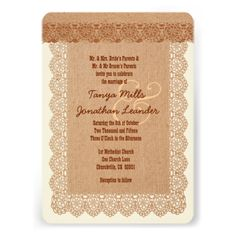 Rustic Style Burlap Texture and Lace Wedding V04 Cards www.zazzle.com/... #rustic #wedding #fall #autumn #barn #lace #burlap