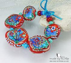 Handmade lampwork beads  freeformed  V i b r a n by calypsosbeads, $95.00