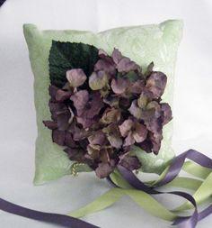 Ring Bearer Pillow, Green Brocade, Purple Hydrangea