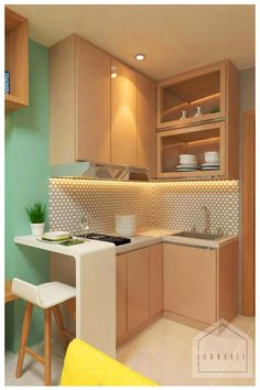 Elegant Minimalist Design Ideas For Tiny Home Decor Tiny houses are becoming more and more desirable. Not only are these houses more financially manageable for many, but the … Kitchen Room Design, Home Room Design, Home Decor Kitchen, Interior Design Kitchen, Small Apartment Interior, Small Apartment Kitchen, Condo Interior, Minimalist Kitchen, Minimalist Design