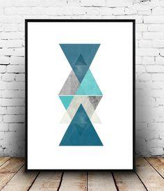 Blue Triangle Print, Printable Art, Geometric Art, Scandinavian Art, Geometric Wall Art, Abstract Art , Wall Decor, Digital Download