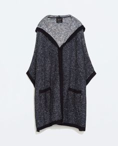 ZARA HOODED TWO-TONE PONCHO WITH PIPING