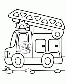 Cartoon Fire Truck Coloring Page For Preschoolers Transportation Pages Printables Free