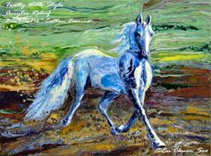 Abstract Realism Acrylic Relief Horse Painting - Trotting With Style by En-Chuen Soo - 30x40ins $1,050US by ECSooArts via ETSY